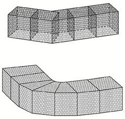 Резка габионов коробчатого типа при создании плавного закругления сооружения